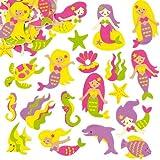"""Baker Ross Moosgummi-Aufkleber """"Meerjungfrauen"""" für Kinder Zum Gestalten und Verzieren von sommerlichen Karten, Bastelarbeiten und Collagen (120 Stück)"""