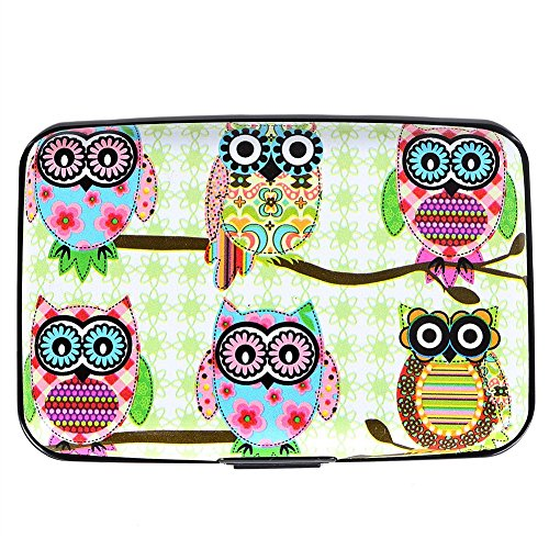 Aluminum Wallet RFID Blocking Credit Card Holder for Men and Women Slim Metal Business Card Hard Case (Owl-5) (Metal Wallet As Seen On Tv)