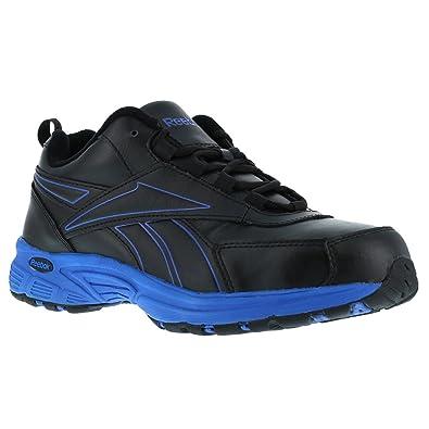 Reebok Mens Black/Blue Leather Athletic Work Oxford Ateron Steel Toe 6 M