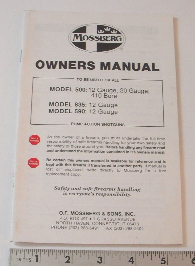 Amazon.com : Mossberg OWNERS MANUAL - MODEL: 500, 835, 590 PUMP ACTION  SHOTGUNS - 1992 : Sports & Outdoors
