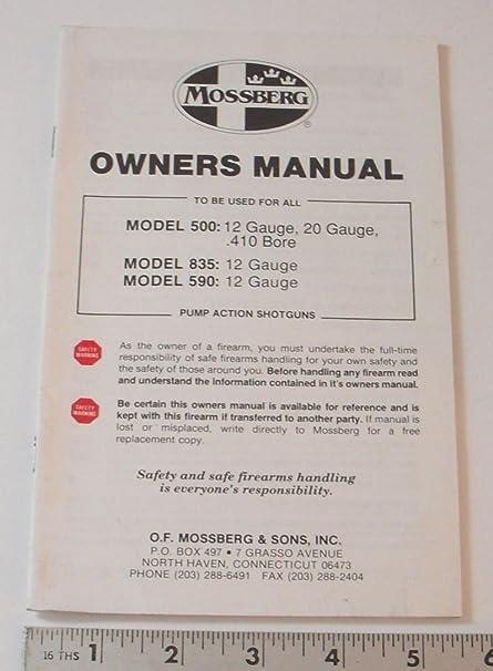 amazon com mossberg owners manual model 500 835 590 pump rh amazon com Diagram of Mossberg 500 Shotgun Diagram of Mossberg 500 Shotgun