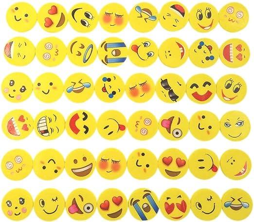 TOMYEER Emoji Emoticon Lapiz Gomas borrar Lindos Regalos para Fiesta Cumpleanos,Pack de 48: Amazon.es: Hogar