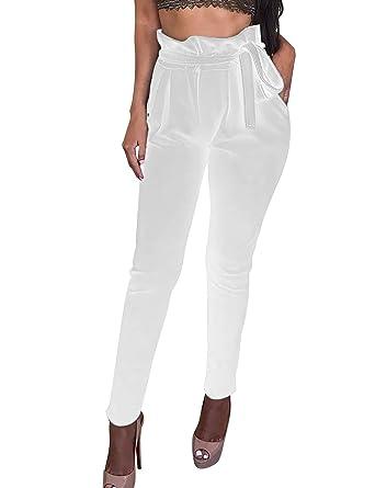 b8d2258e66d7 Pantalon femme blanc fluide pantalon toile coton femme ...