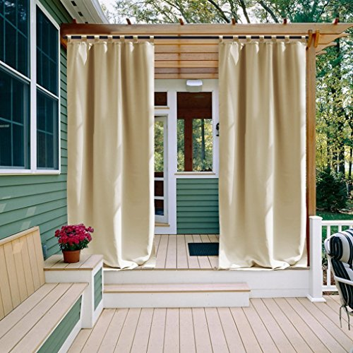 NICETOWN Patio Curtain, Thermal Insulated Tab Top Outdoor Curtain, Room Darkening Curtain for Patio, Porch Curtain (Cream Beige, 1 Panel,52 Inch Wide by 108 Inch Long) by NICETOWN