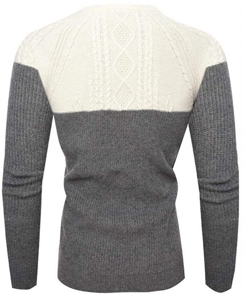 YYG Mens Knitted Color Block Crew Neck Warm Long Sleeve Slim Fit Pullover Sweaters