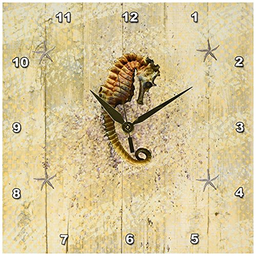 3dRose dpp_182667_1 Beautiful Seahorse and Starfish on Aged Wood-Wall Clock, 10 by 10-Inch ()