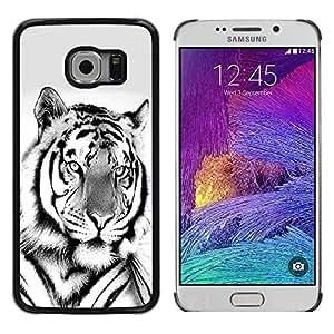 TopCaseStore / la caja del caucho duro de la cubierta de protección de la piel - Majestic Lion Black White - Samsung Galaxy S6 EDGE SM-G925