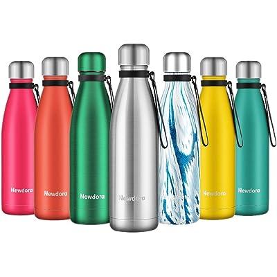 Newdora Botella de Agua Acero Inoxidable 500ml, Aislamiento de Vacío de Doble Pared, Botellas de Frío/Caliente, con 1 un Cepillo de Limpieza, para Niños, Deporte, Oficina, Gimnasio, Ciclismo