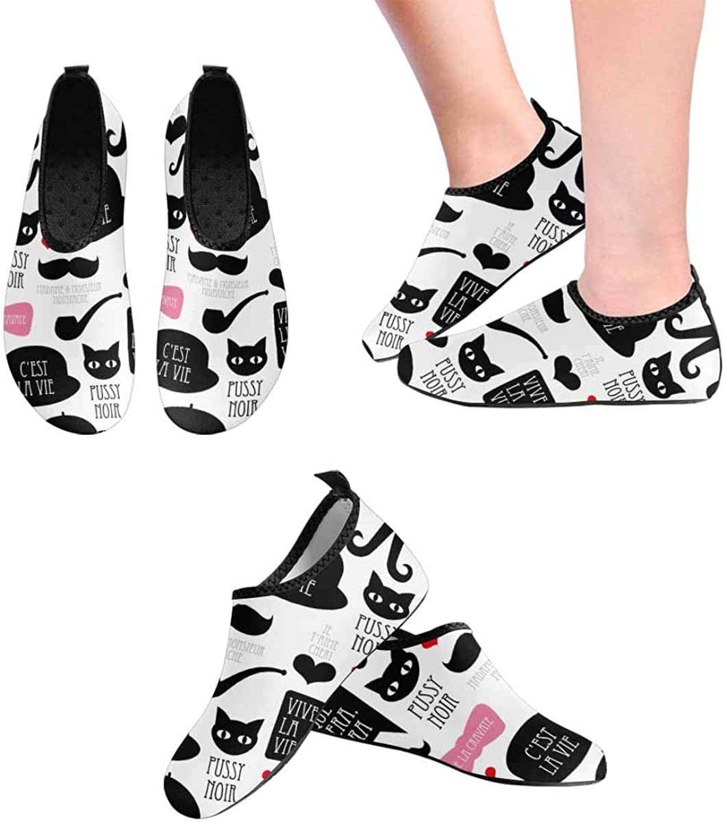 INTERESTPRINT Mens Quick Dry Barefoot Aqua Shoes Mustache Pattern Barefoot Water Shoes
