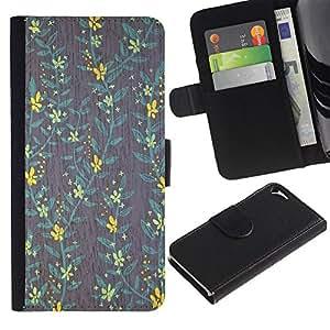 WINCASE Cuadro Funda Voltear Cuero Ranura Tarjetas TPU Carcasas Protectora Cover Case Para Apple Iphone 5 / 5S - fondo de pantalla verde azulado amarillo verde gris