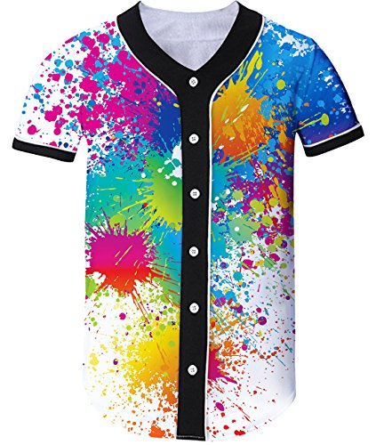 Shops Clothes Rave (Idgreatim Mens Graffiti Baseball Jersey Short Sleeve Tees Tshirt Casual Button Down Shirt XL)