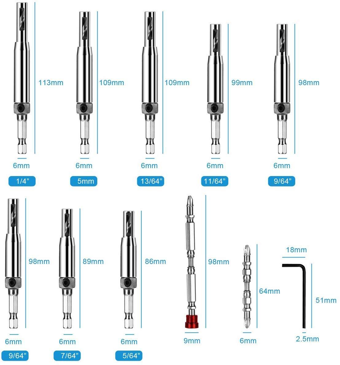 Self Centering Hinge Hardware Hole Drilling Tool Kit for Woodworking Adjustable Door Window Drill Bits flintronic Center Drill Bit Set 11 PCS Hinge Drill Bit