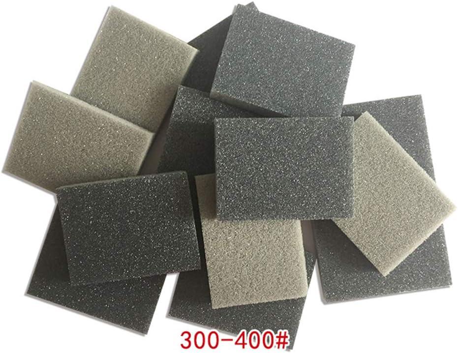almohadillas abrasivas con grano fino h/úmedo y seco 300-400# Esponja de lija lija y pulido de doble cara 5 bloques Bloques abrasivos T/&F