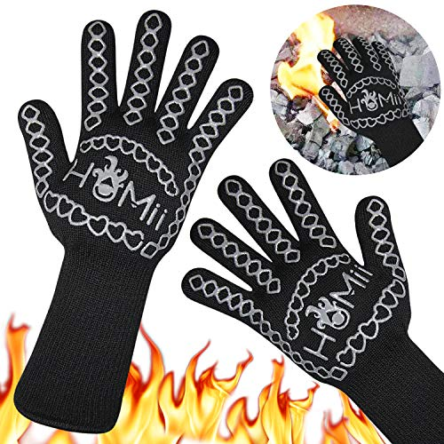 HoMii BBQ Gloves 1472℉ Extreme Heat Resistant, Oven Silicone Glove Kitchen Oven Mitts Grilling Glove for Cooking, Kitchen, Baking, Fireplace, Grilling, 1 Pair (13 Inch) ()