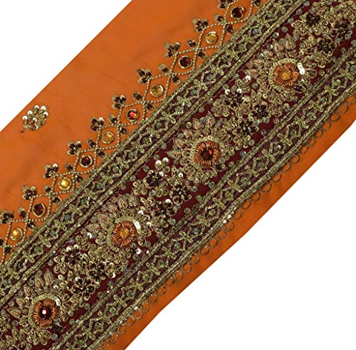 Vintage Sari Border Indian Craft Trim Hand Beaded Ribbon Lace Rusty Orange