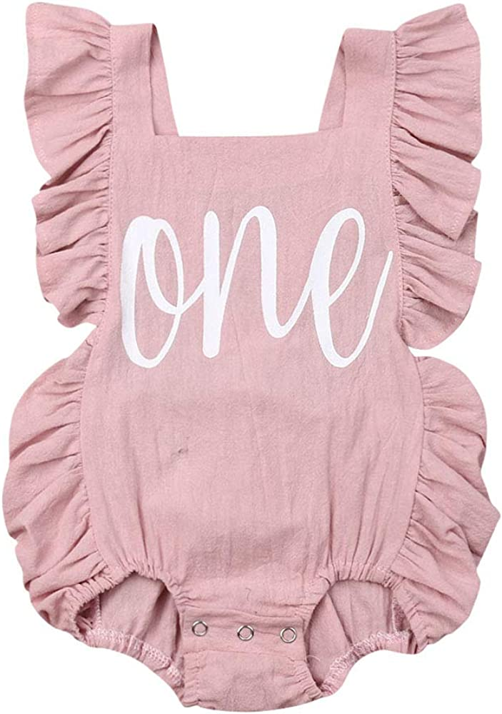 Carolilly Romper Baby Girl Summer Bodysuit Sleeveless Romper Infant Cotton with Flamingo Print Pink+Baby Band