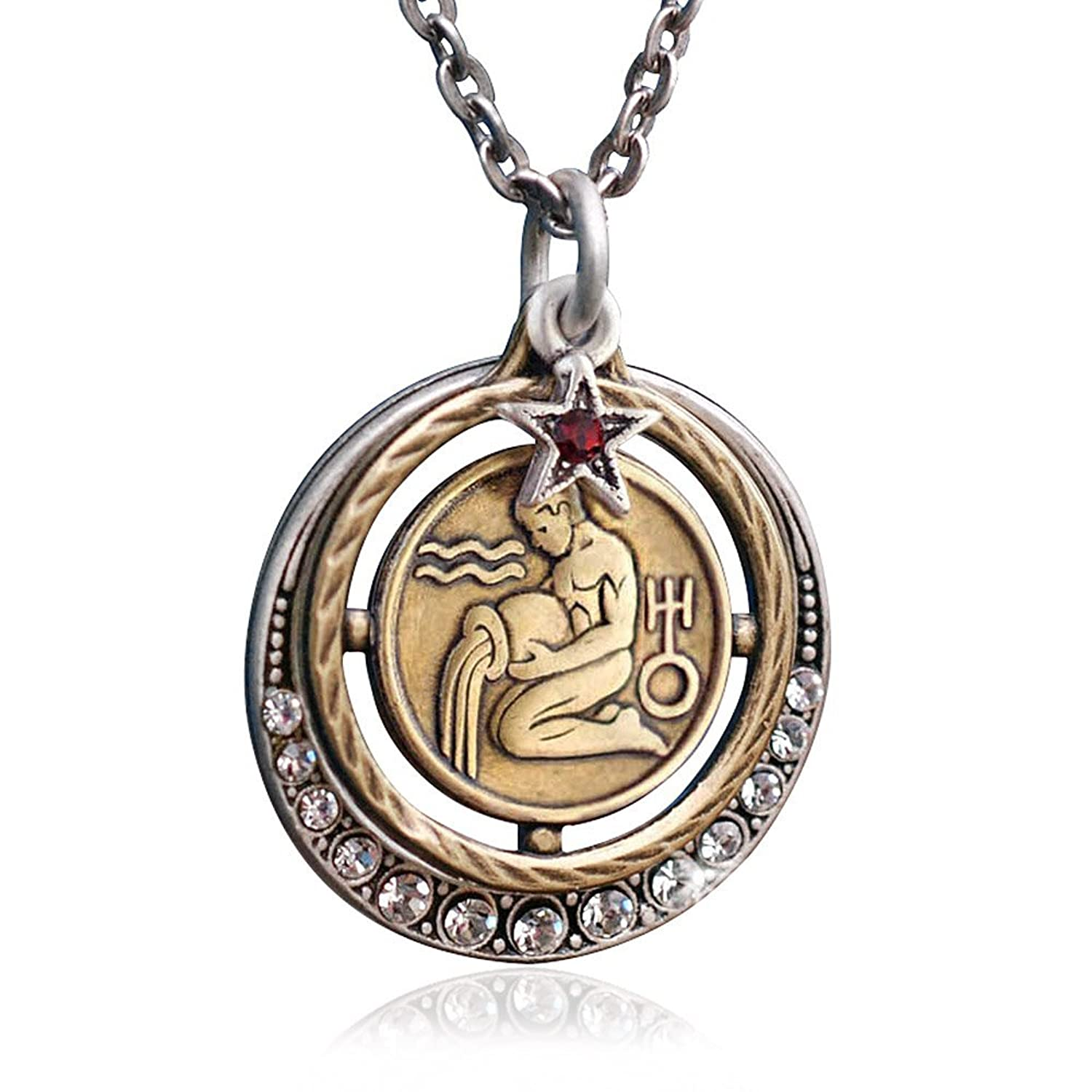Amazon aquarius zodiac sign astrology pendant necklace amazon aquarius zodiac sign astrology pendant necklace january and february birthday gifts jewelry mozeypictures Images
