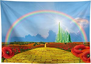 Allenjoy Castle Rainbow Photography Backdrop Blue Sky Yellow Brick Road Girl Kids Princess Bday Party Decor Banner Red Poppy Flower Field Baby Shower Newborn 8x6ft Background Photo Booth Props