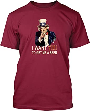 Uncle Sam Get Me a Beer #146 Funny Drunk Party Men/'s Long Sleeve T-Shirt