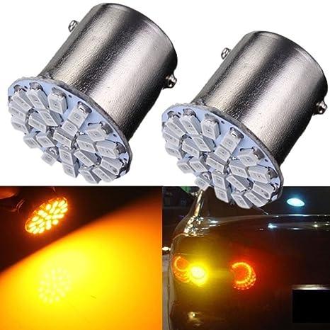 EMVANV - Bombilla LED de luz intermitente para coche, color amarillo y ámbar (1