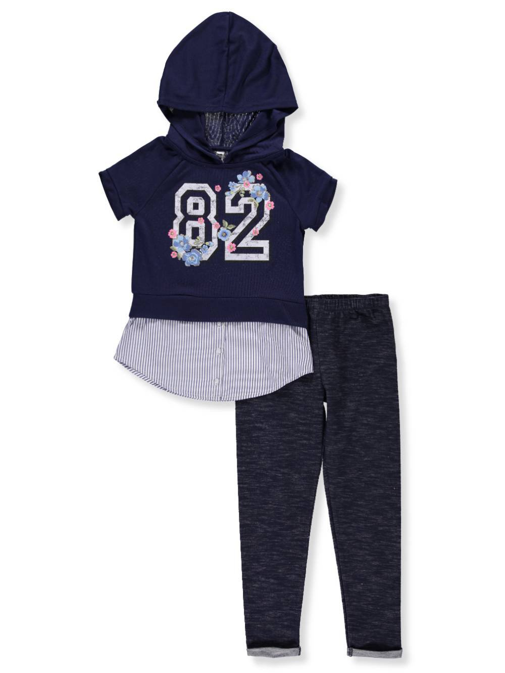 Beautees Big Girls' 2-Piece Leggings Set Outfit - Navy, 7