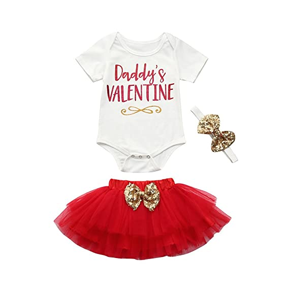 600ec626dceb Iuhan Newborn Infant Baby Girl Letter Romper Tops Short Sleeve+Skirt  Valentine s Day Outfits Set