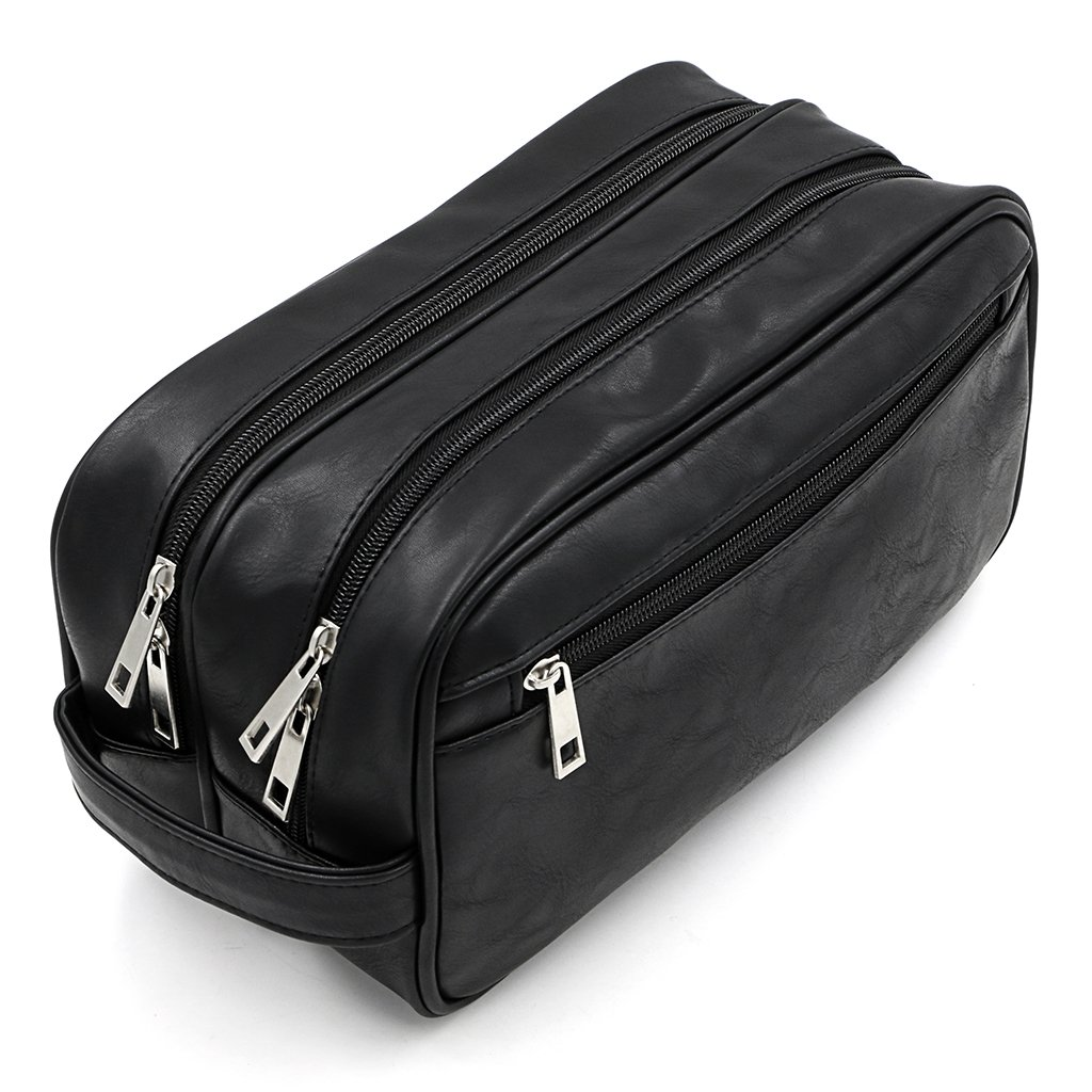 Toiletry Bags, Sumnacon Unisex PU Leather Waterproof Travel Toiletry Bag Organizer Perfect for Shaving Grooming Dopp Kit Household Business Vacation, Cosmetic Bag with Portable Handle