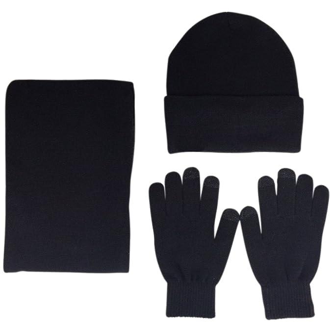 1427814b786 JOYEBUY Men 3 PCS Knitted Set Winter Warm Knit Hat + Scarf + Touch Screen  Gloves