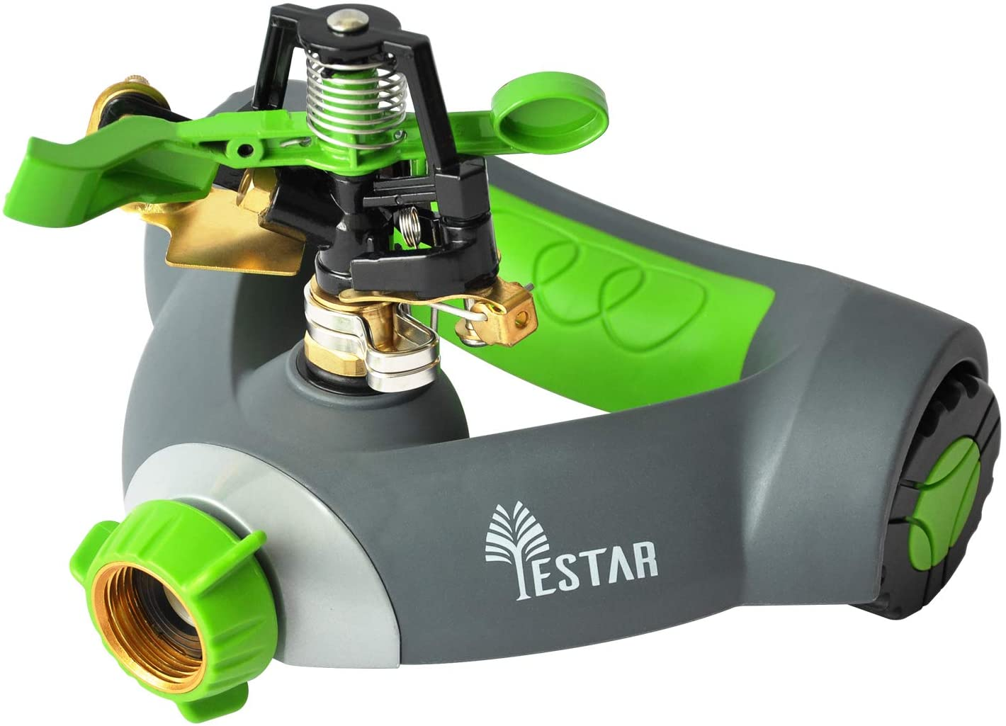 YESTAR Garden Lawn Impulse Sprinkler, Adjustable 360° Rotating Portable Yard Sprinkler with Metal Head & Wheeled Base, Water Up to 4,800 Sq. Ft. Coverage