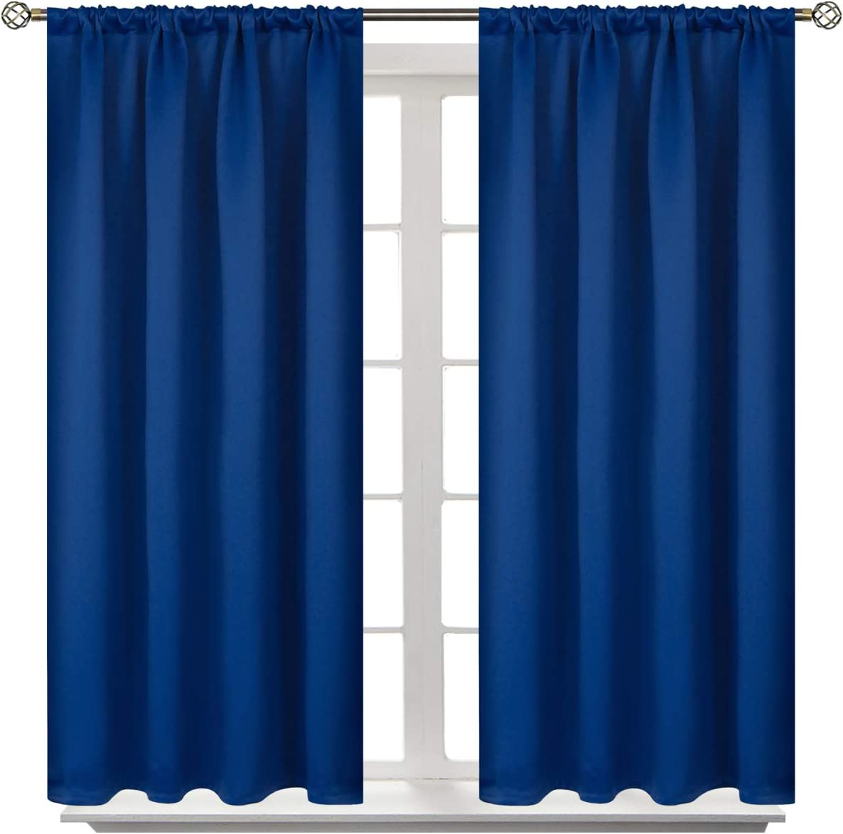 BGment Rod Pocket Blackout Curtains for Bedroom - Thermal Insulated Room Darkening Curtain for Living Room, 42 x 54 Inch, 2 Panels, Classic Blue