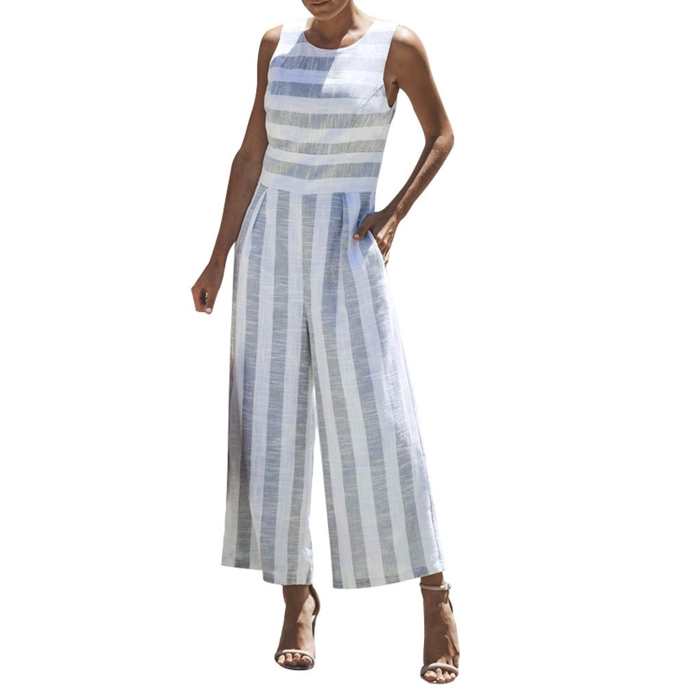 WUAI Womens Sexy Sleeveless Spaghetti Strap Striped Printed Harem Wide Leg Jumpsuit Beach Rompers Playsuit (Light Blue,Medium)