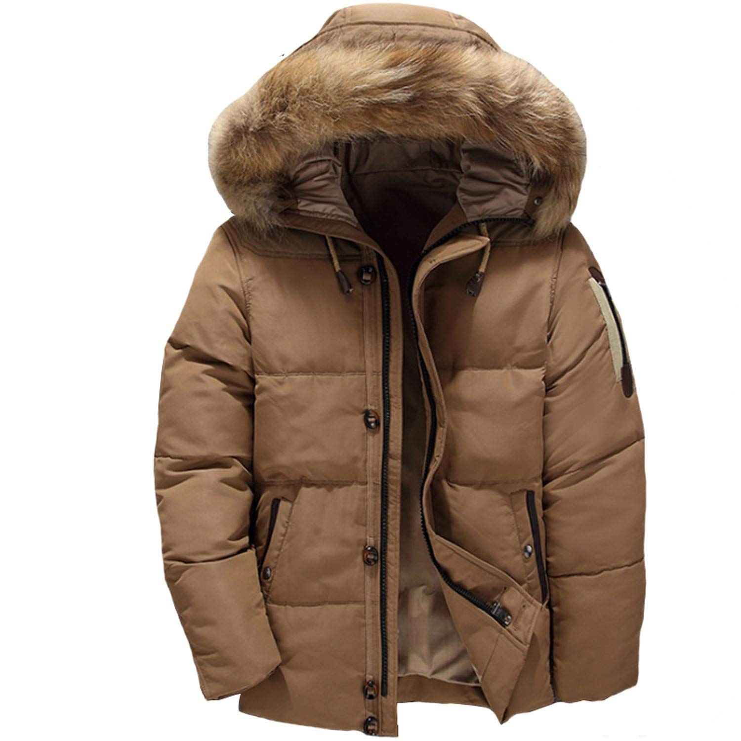 Men Coat Winter Abrigos para Men Hooded Fur Collar Down Coats at Amazon Mens Clothing store: