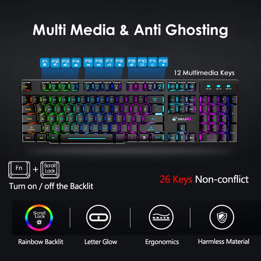 Wireless Gaming Keyboard and Mouse Combo with Yellow LED Backlit Rechargeable 4000mAh Battery Mechanical Ergonomic Feel Waterproof Dustproof 7 Color Backlit Mute Mice for Computer Mac Gamer