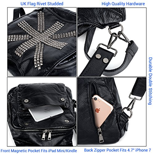 Theft Studded Backpack Rivet Ladies Leather Shoulder Women Grey Convertible Bag UTO 249 black PU Anti pRwqAzCxt