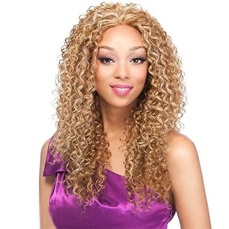 Largo Pelucas De Pelo Rizado Para Mujer Uso Diario Natural Rizado Afro Peluca de pelo rubio
