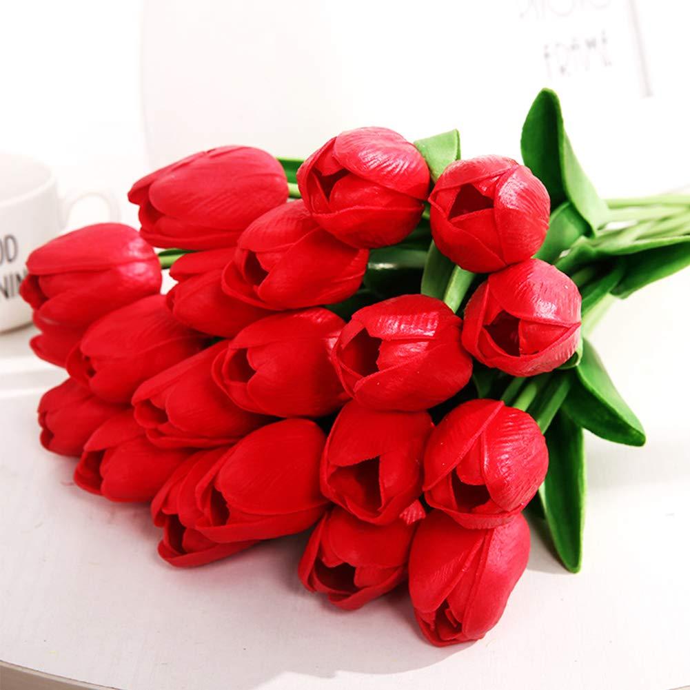 Ruiting Novia de la Boda Artificial de la Flor del tulip/án Rojo 10Pcs Reallike Ramo de la Flor de la decoraci/ón de la simulaci/ón Flor del tulip/án
