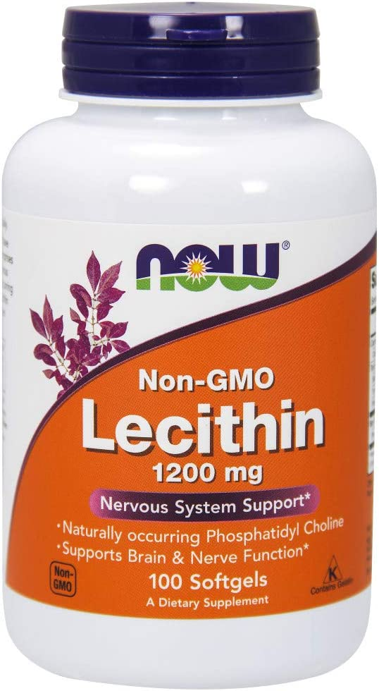 NOW Supplements, Lecithin 1200 mg with naturally occurring Phosphatidyl Choline, 100 Softgels
