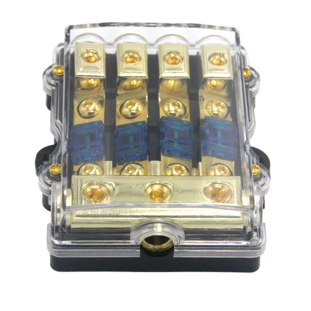 ZOOKOTO Power Distribution Block (4 - way), 6/8 AWG Gauge AGU Fuse Holder Distribution Block 2/4 Gauge In to (6) 8 Gauge Out with 60A MANL Fuses by ZOOKOTO (Image #2)