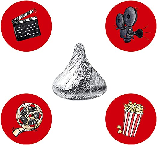Amazon Com Magjuche Movie Night Candy Stickers Cinema Theater Hollywood Themed Birthday Party Stickers Label Fit Hershey S Kisses 304 Count Home Kitchen