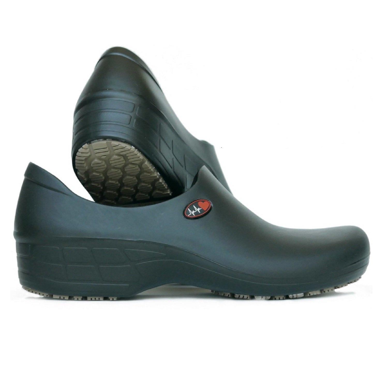 Women's Printed Waterproof Non Slip Work Shoes - Nursing Shoes - KEEPNURSING (7, Black - Electo Heart)