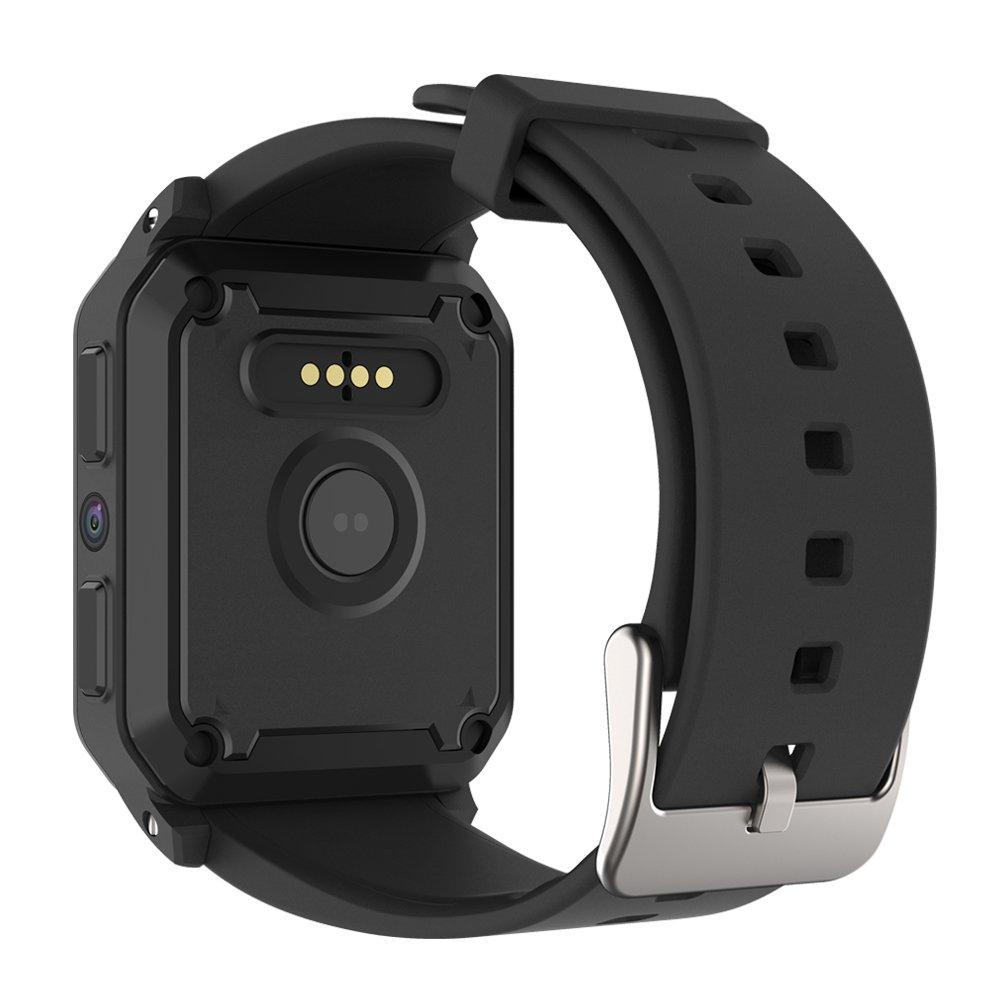 Amazon.com: TORTOYO KW06 Smart Watch Phone Android 5.1 OS 512MB+8GB 3G SIM GPS WiFi Heart Rate Monitor Pedometer Camera IP68 Waterproof Swim (Black): Cell ...