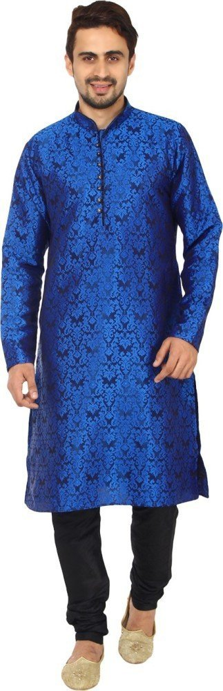 Royal Kurta Men's Self Kurta Silk Blend Kurta Churidar Set KELA-SILK-BLUE-38A-$P