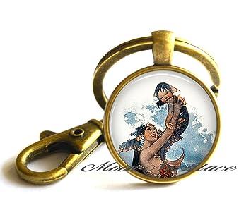 Bebé y sirena llavero, llavero, diseño de sirena, madre y ...