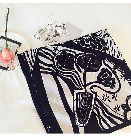 Pañuelos Estampados En Blanco Y Negro Chales De Gran Tamaño Pañuelos De Mujer De Doble Uso Toallas De Playa De Protección Solar De Viaje (Largo: 180 Cm De ...