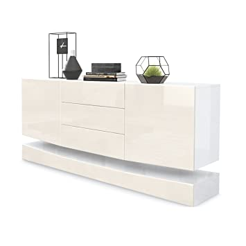 Vladon Sideboard Cabinet City Carcass In White High Gloss Front In