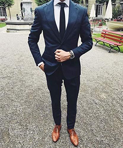 2 Yzhen Fit Smoking Costumes Marin Et Veste De Slim Bleu Pièces Mariage Pour  Hommes Pantalons Xr8wvX aae774d59f0