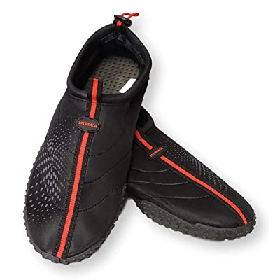 101 BEACH Mens Big Sizes 14-15 Black with Red Trim Aqua Sock Wave Water Shoes - Waterproof Slip-On Style for Pool, Beach, Boating, Water Aerobics and Water Sports | Water Shoes