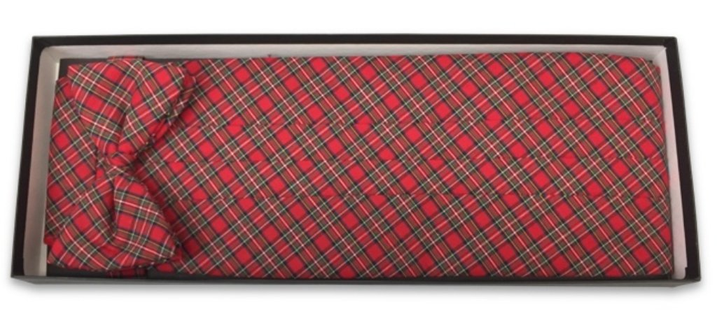 Classic Scottish Tartan Red Plaid Tuxedo Cummerbund and Bow Tie by David's Formal Wear