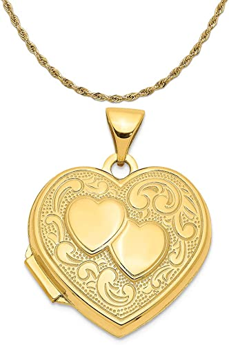 14K Solid Two Tone Gold Heart Love Charm Pendant