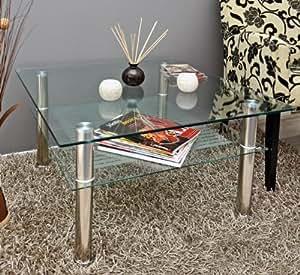 ts ideen mesa auxiliar cristal y acero inoxidable 70 x